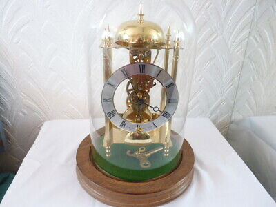 """Sewills of Liverpool All Brass Hermle """"Skeleton"""" Glass Dome Clock ,"""