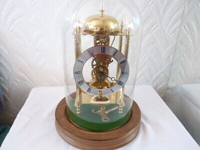"Sewills of Liverpool All Brass Hermle ""Skeleton"" Glass Dome Clock, """"Still New"""""