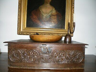 Charming Antique English Oak 17Th C. Superbly Carved Oak Bible/Document Box