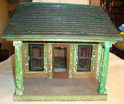 Antique Dollhouse Architectural Model Hand Made Putz Christmas Village Doll 1920
