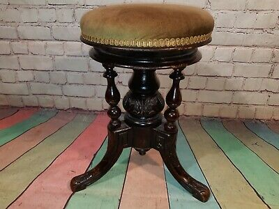 Antique Victorian Adjustable Ornate Hand Carved Piano Stool