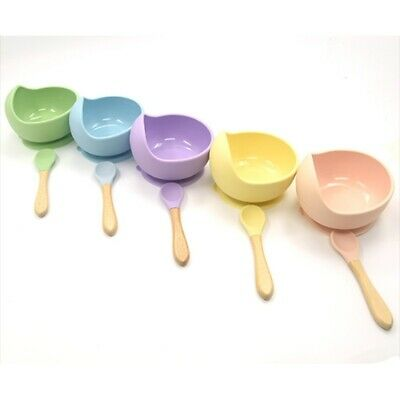 Silicone Solid Color Baby Dish Dinnerware Bowl +Spoon Food Storage Feeding Bowl
