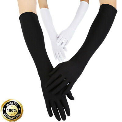 Women Sexy Party Gloves 22'' Long Black White Satin Finger Mittens HQY