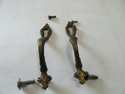 antique brass vertical escutcheon keyhole cover door pull/pair