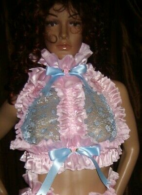 Prissy Sissy Maid Adult Baby CD/TV Lockable Slave Trap, Lace Cup Bra & Padlock
