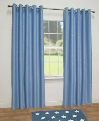 """Stars Kids Thermal Blackout Eyelet Curtains / 90"""" x 90"""" / Blue / IMPERFECT"""