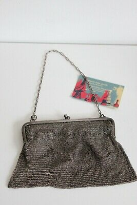 Antique French solid silver mesh evening bag with chain 1900s