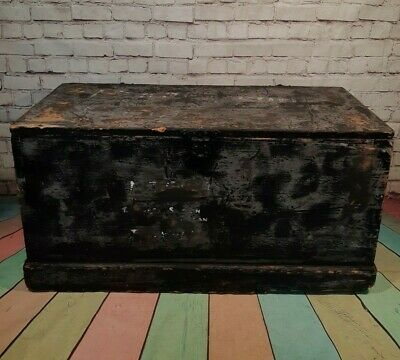 Old Antique Pine Chest Blanket Box Vintage Wooden Storage Trunk Coffee Table.