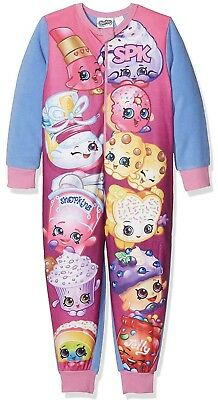 Brand New Girls SHOPKINS All in One Fleece Christmas 1Onesie Pyjamas Age 4-5yrs