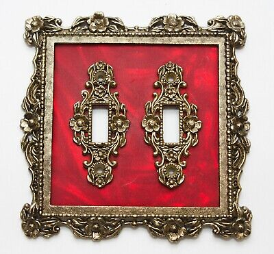Vintage Ornate Floral Double Switch Plate Cover Brass Plated and Red