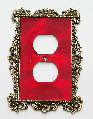 Vintage Ornate Floral Outlet Plate Cover Brass Plated & Red