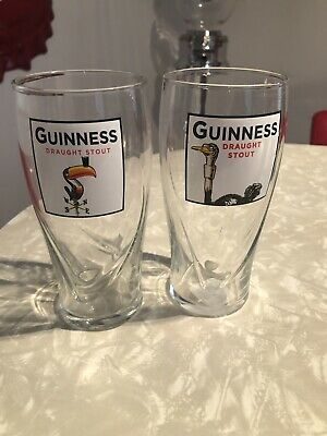 Guinness Draught Stout Toucan / Ostrich 20 OZ  Beer Glass - Brand New