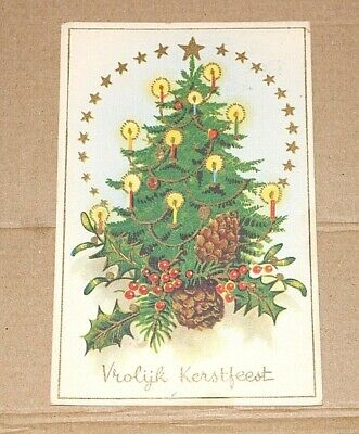Postcard merry Christmas Amsterdam Dutch 5c stamp 1953 Tree cones Candles 97