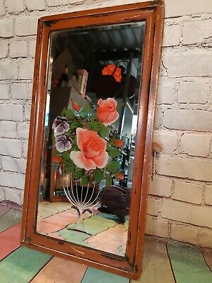 Antique Vintage Edwardian Painted Gypsy Cut Glass Floral Hanging Wall Mirror
