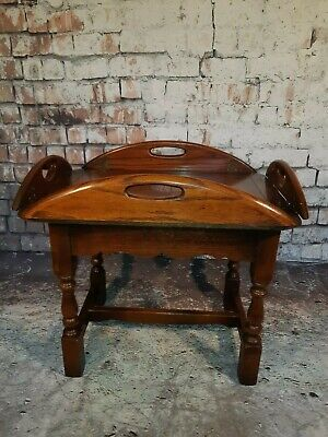 Antique Vintage Georgian Solid Oak  Butlers Servants Serving Tray Coffee Table