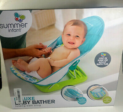 Summer Infant Deluxe Baby Bather Folding Bath Sling OPEN BOX