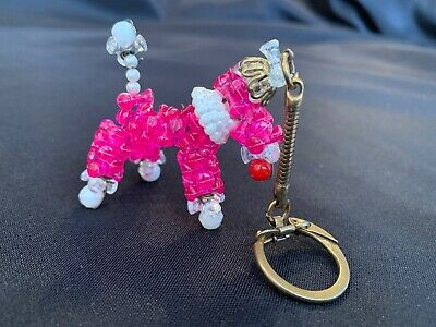 Vintage Pink Bead Poodle Dog Figural Keychain Gold Tone Pearl Collar