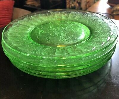 "Set of 5 Green Jeannette Floral Pointsettia Depression Glass 8"" Plates"