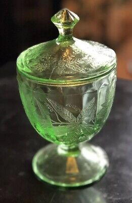 Green Jeanette Floral Pointsettia Depression Glass Candy Dish