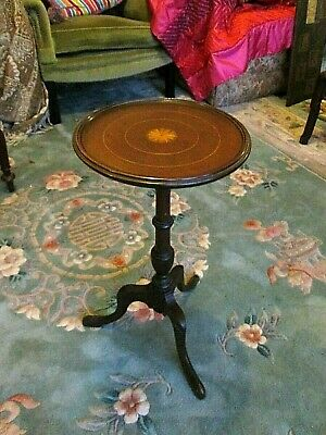 Antique Victorian Mahogany Inlaid Wine Table Side Occasional Table