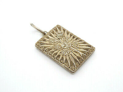 Antique Silver Lace Filigree Women's Small Chatelaine Coin Purse Pendant Locket