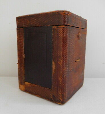 Antique Carriage Clock Case Leather and Wood for Restoration