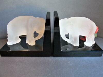 Pair Art Deco Heinrich Hoffmann Glass Elephant Bookends Signed Bohemian Kt4951