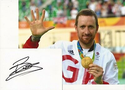 CYCLING: SIR BRADLEY WIGGINS SIGNED 6x4 WHITECARD+UNSIGNED 10x8 PHOTO+COA