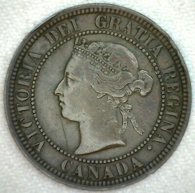 1876 H Canada Large Cent Coin 1c Canadian Coin KM #7 Bronze VF Very Fine K88