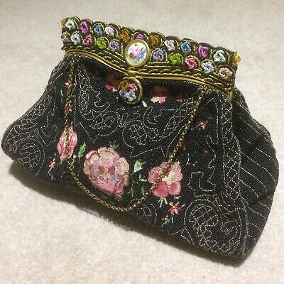 ANTIQUE Original 1920s Black Seed Bead Embroidered French Evening Bag RP£350