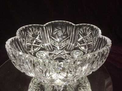 "VTG. Bohemian /AMERICAN BRILLIANT PIN WHEEL DESIGN CUT CRYSTAL 10"" Candy Bowl"