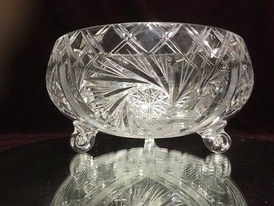 "VTG. AMERICAN BRILLIANT PERIOD DESIGN (ABP) CUT Crystal 9"" FOOTED PIN WHEEL"