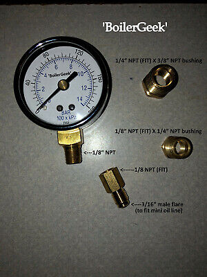 Riello Oil Burner Fuel Pressure Test Gauge with all adapters