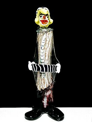 "14"" Lg Murano Clown Playing Accordion Pinched Nose Attr. Archimede Seguso Italy"