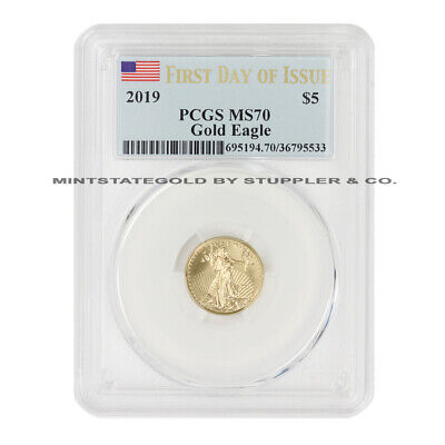2019 $5 American Gold Eagle PCGS MS70 First Day of Issue 1/10 oz 22KT coin FDOI