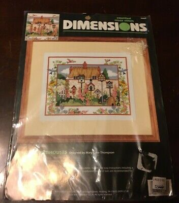 Dimensions FANCIFUL BIRDHOUSES Counted Cross Stitch Kit NEW Vintage Needlepoint!