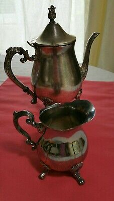 Vintage LEONARD Silver Plate 2 piece Coffee Tea Pot Creamer Signed 1900-1940