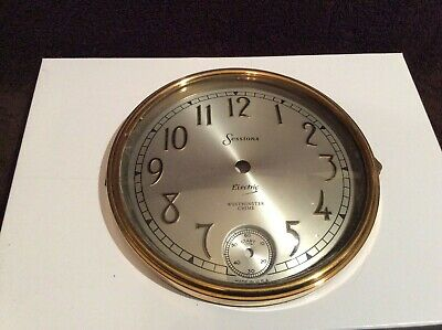 Sessions 6.5 Inch Clock Face Gold Rim & Beveled Glass Electric Westminster Chime