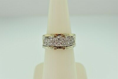 Vintage Retro Genuine Solid Sterling Silver 925 Gold Plate Overlay Ring Size 6