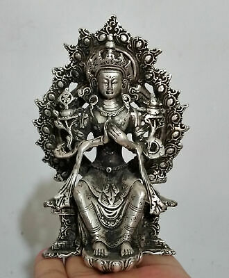 Collectible Decorated Old Miao Silver Carve Guanyin Prayer lucky Statues