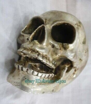 Collectible Decorated Old Miao Silver Carve skull Head Statue