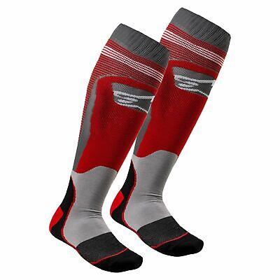 Alpinestars Mx Plus-1 Mens Underwear Boot Socks - Red Cool Grey All Sizes