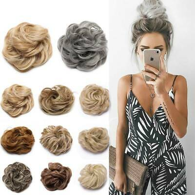 100% Real Messy Bun Scrunchie Hair Extension Chignon For Human Blonde Hairpiece