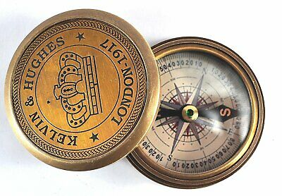 Beautiful Kelvin & Hughes London - 1917 compass with poem of Robert Frost