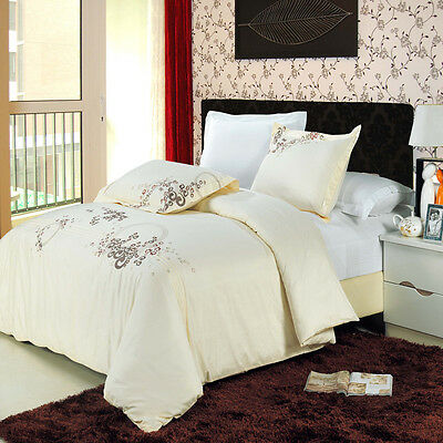 Luxury Sophia Cotton Embroidered Duvet Cover Set Silky Soft + Extra Pillow Shams