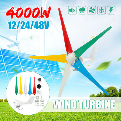 4000W Horizontal Wind Turbine Generator 5 Blades 12/24/48V Controller Home Power