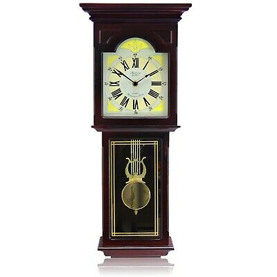 "BEDFORD BED7247 REDWOOD 23"" GRANDFATHER WALL CLOCK with PENDULUM and 4 CHIMES"