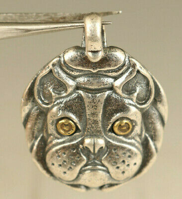 925 silver hand carved lovely dog statue pendant netsuke