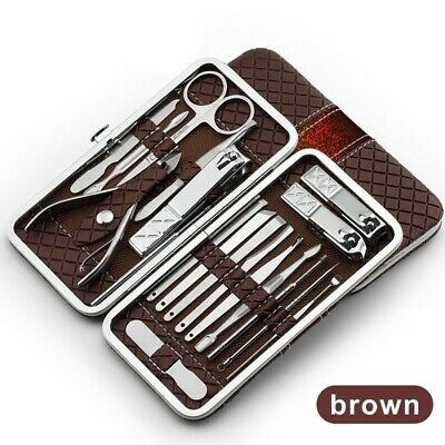 Manicure Pedicure Set Professional Kit Nails Clipper Stainless Steel Black