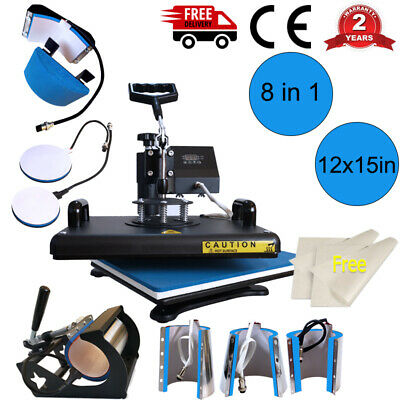 8 in 1 Combo Heat Press Machine Sublimation 12*15in for T-shirt Mug Plate Hat US